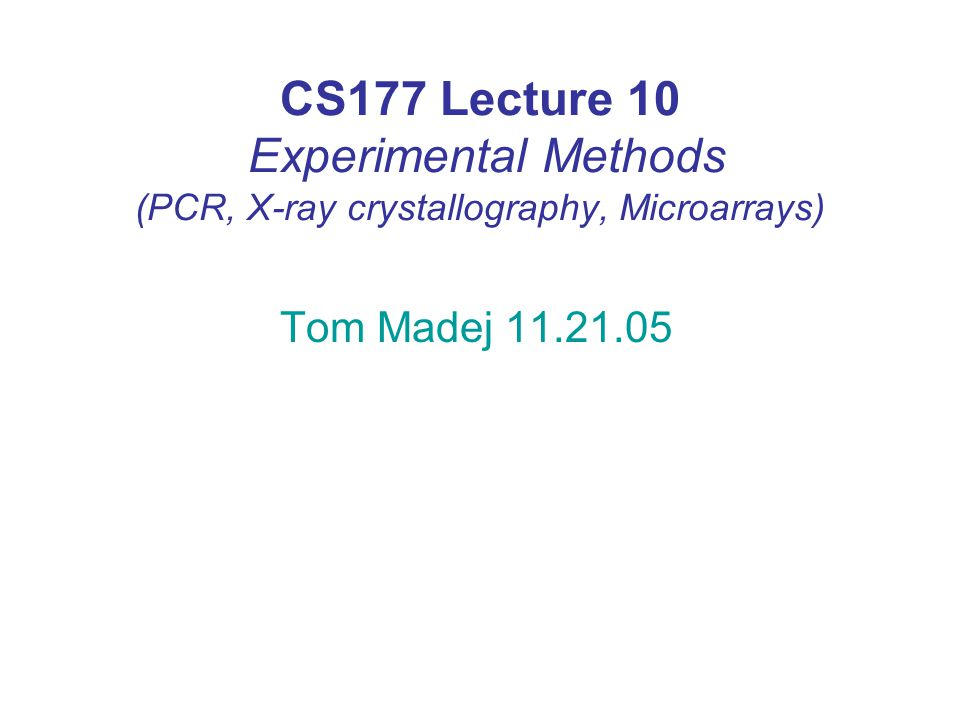 Lecture overview Polymerase chain reaction (PCR) and its applications.