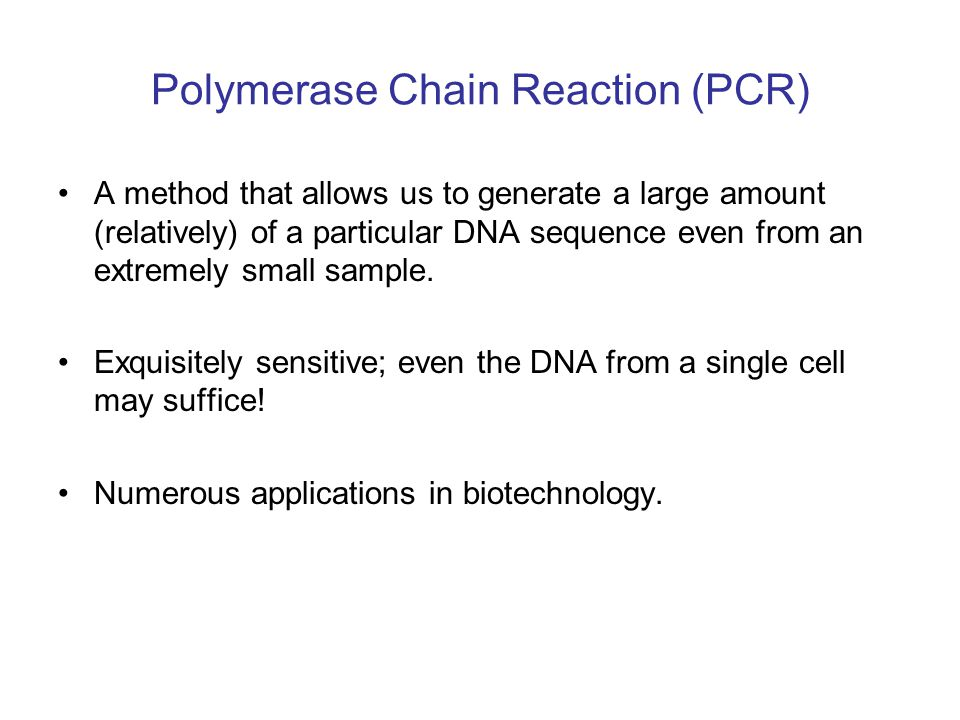 PCR: main ideas You need to know what you are looking for, e.g.