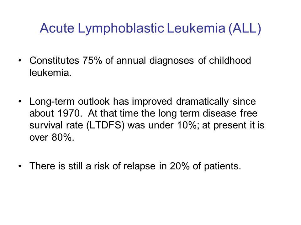 Acute Lymphoblastic Leukemia (ALL) Constitutes 75% of annual diagnoses of childhood leukemia.