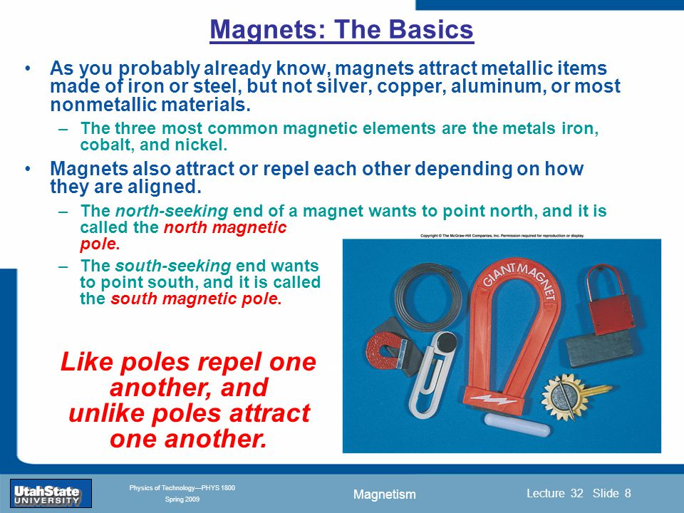 Magnetism Introduction Section 0 Lecture 1 Slide 9 Lecture 32 Slide 9 INTRODUCTION TO Modern Physics PHYX 2710 Fall 2004 Physics of Technology—PHYS 1800 Spring 2009 The force that two poles exert on one another varies with distance or pole strength.