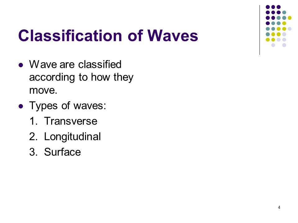 5 Transverse Wave In transverse waves, the particles of the medium move perpendicular in the direction of the wave.