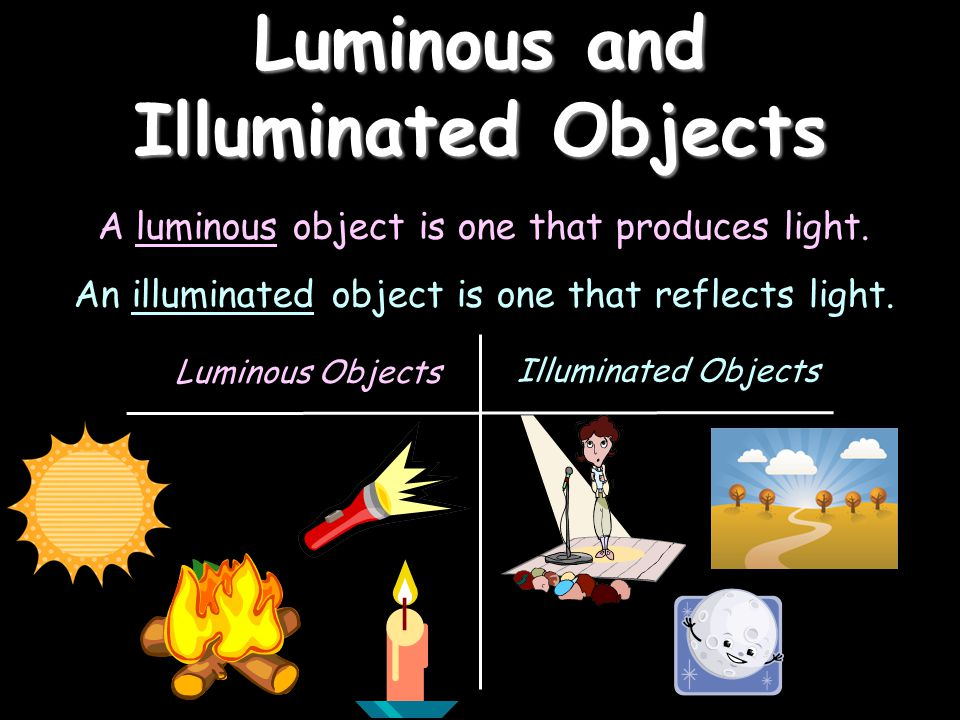 A luminous object is one that produces light.An illuminated object is one that reflects light.