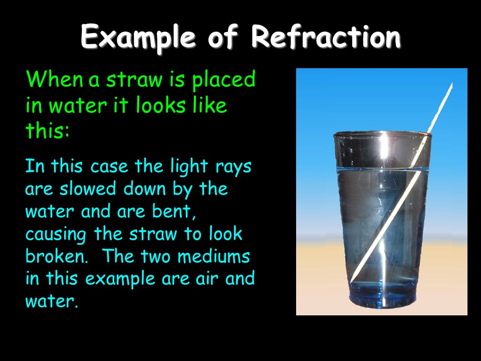 Example of Refraction When a straw is placed in water it looks like this: In this case the light rays are slowed down by the water and are bent, causing the straw to look broken.