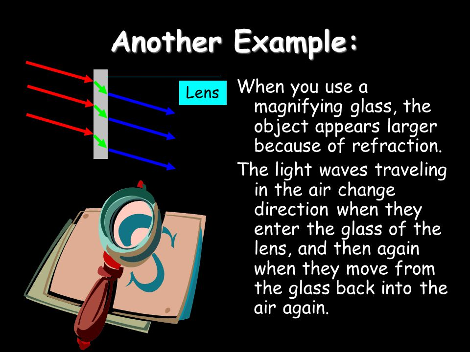 Another Example: When you use a magnifying glass, the object appears larger because of refraction.