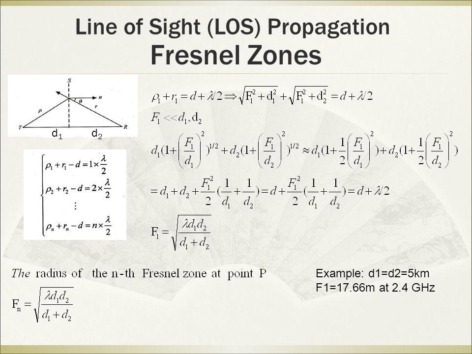 Fresnel Zones Line of Sight (LOS) Propagation Example: d1=d2=5km F1=17.66m at 2.4 GHz d1d1 d2d2
