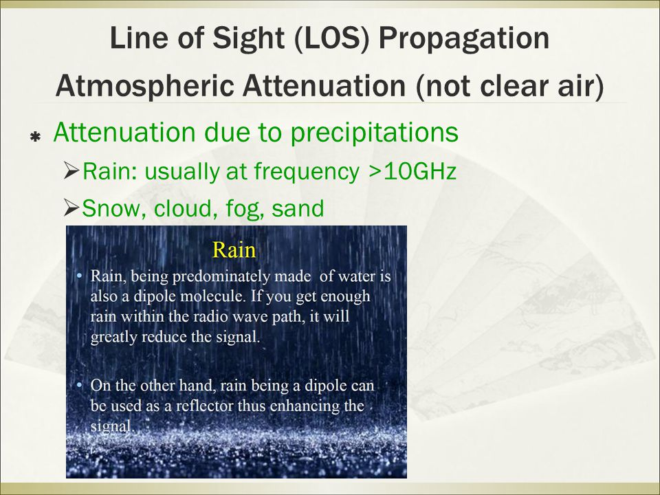 Line of Sight (LOS) Propagation  Attenuation due to precipitations  Rain: usually at frequency >10GHz  Snow, cloud, fog, sand Atmospheric Attenuation (not clear air)