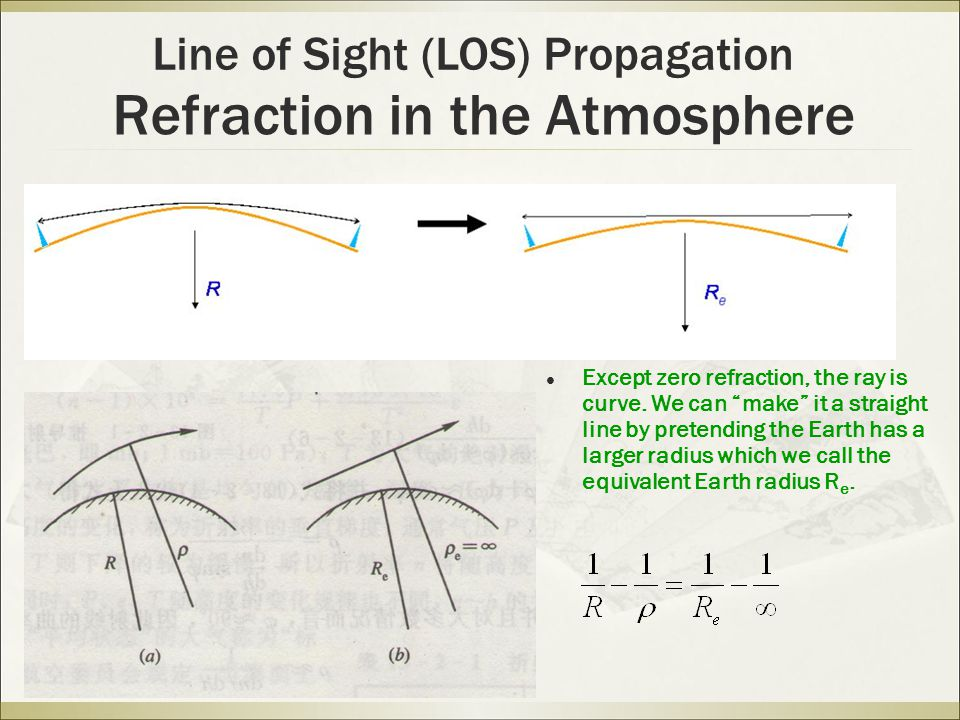 Refraction in the Atmosphere Line of Sight (LOS) Propagation Except zero refraction, the ray is curve.