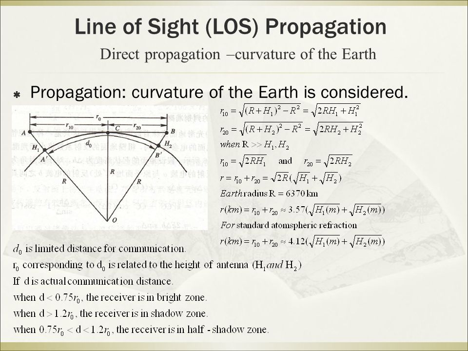 Direct propagation –curvature of the Earth  Propagation: curvature of the Earth is considered.