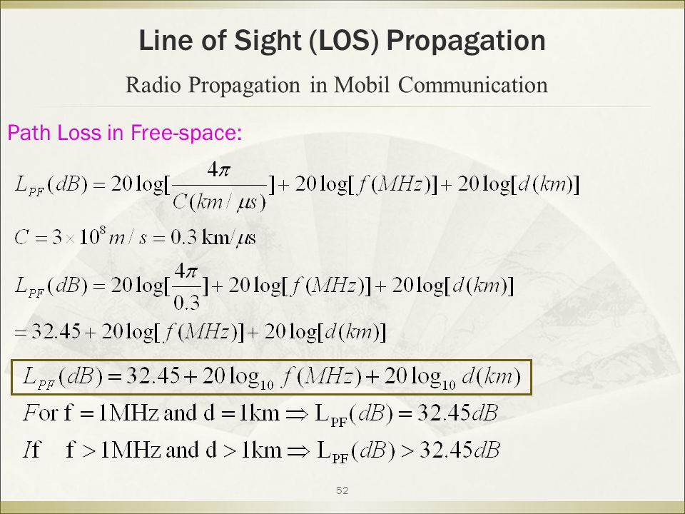 52 Line of Sight (LOS) Propagation Radio Propagation in Mobil Communication Path Loss in Free-space: