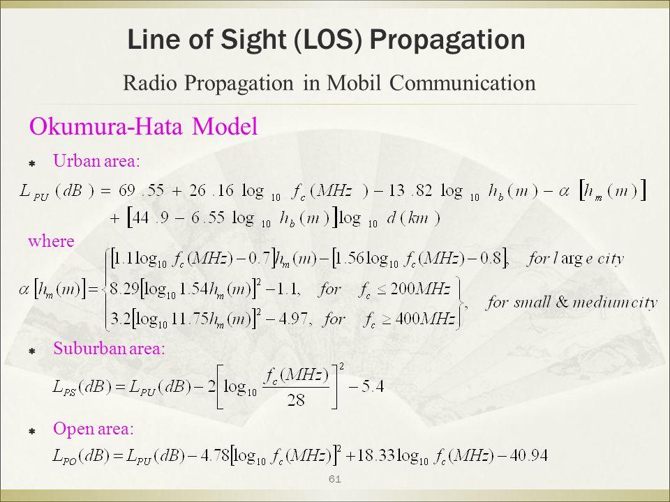 61  Urban area: where  Suburban area:  Open area: Line of Sight (LOS) Propagation Radio Propagation in Mobil Communication Okumura-Hata Model