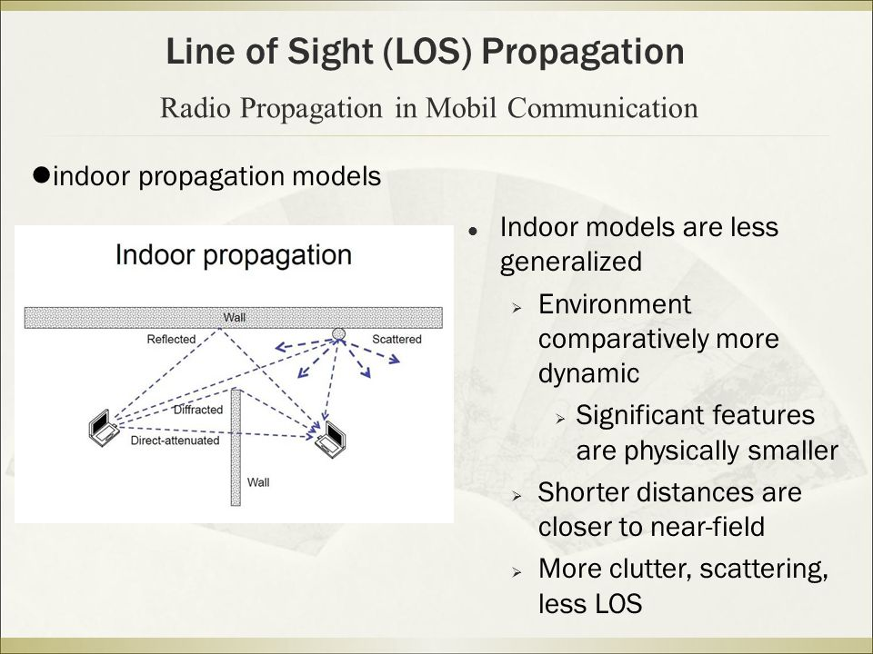 Line of Sight (LOS) Propagation Radio Propagation in Mobil Communication indoor propagation models Indoor models are less generalized  Environment comparatively more dynamic  Significant features are physically smaller  Shorter distances are closer to near-field  More clutter, scattering, less LOS