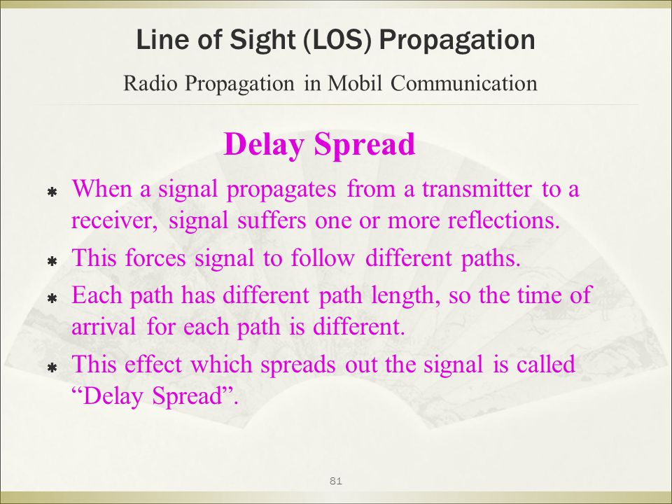 81 Delay Spread  When a signal propagates from a transmitter to a receiver, signal suffers one or more reflections.