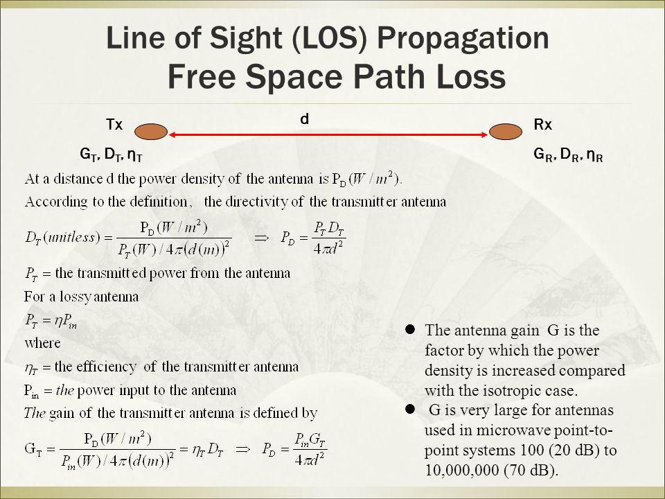 Free Space Path Loss Line of Sight (LOS) Propagation The antenna gain G is the factor by which the power density is increased compared with the isotropic case.