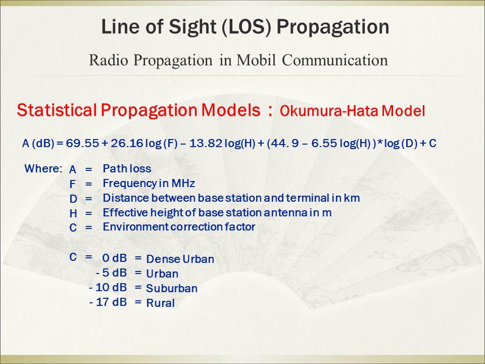 Statistical Propagation Models : Okumura-Hata Model A (dB) = 69.55 + 26.16 log (F) – 13.82 log(H) + (44. 9 – 6.55 log(H) )*log (D) + C Where: AFDHCCAF