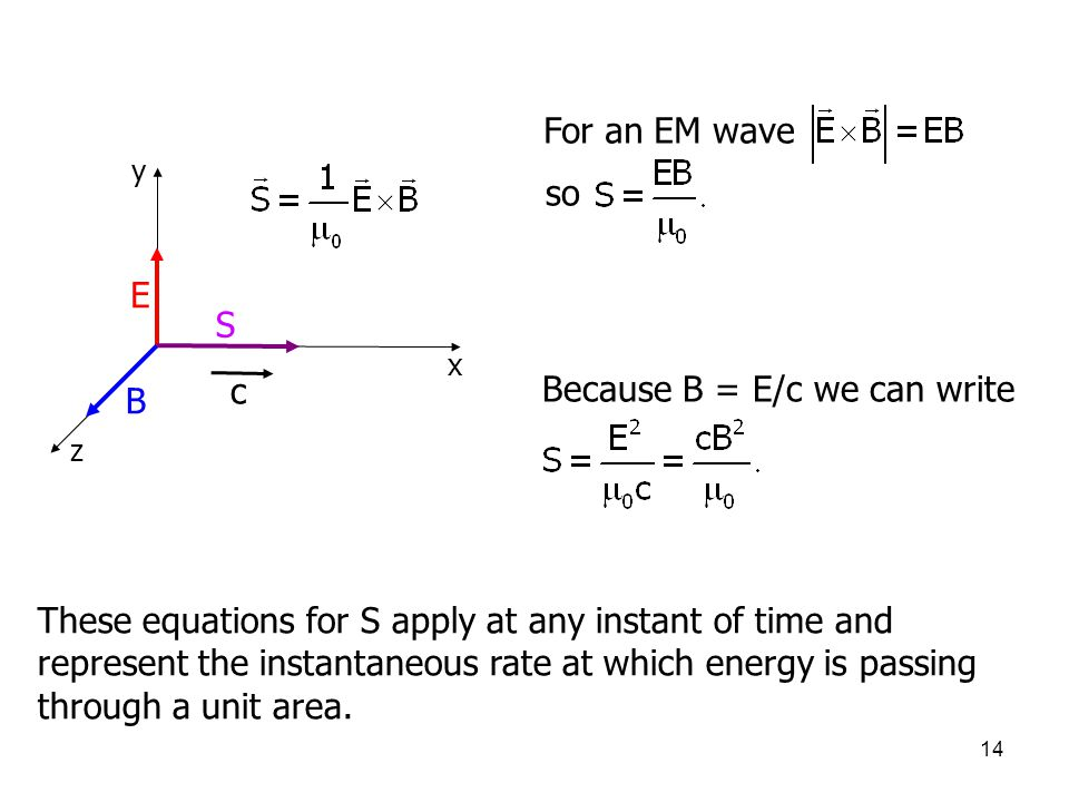 14 z x y c S E B Because B = E/c we can write These equations for S apply at any instant of time and represent the instantaneous rate at which energy