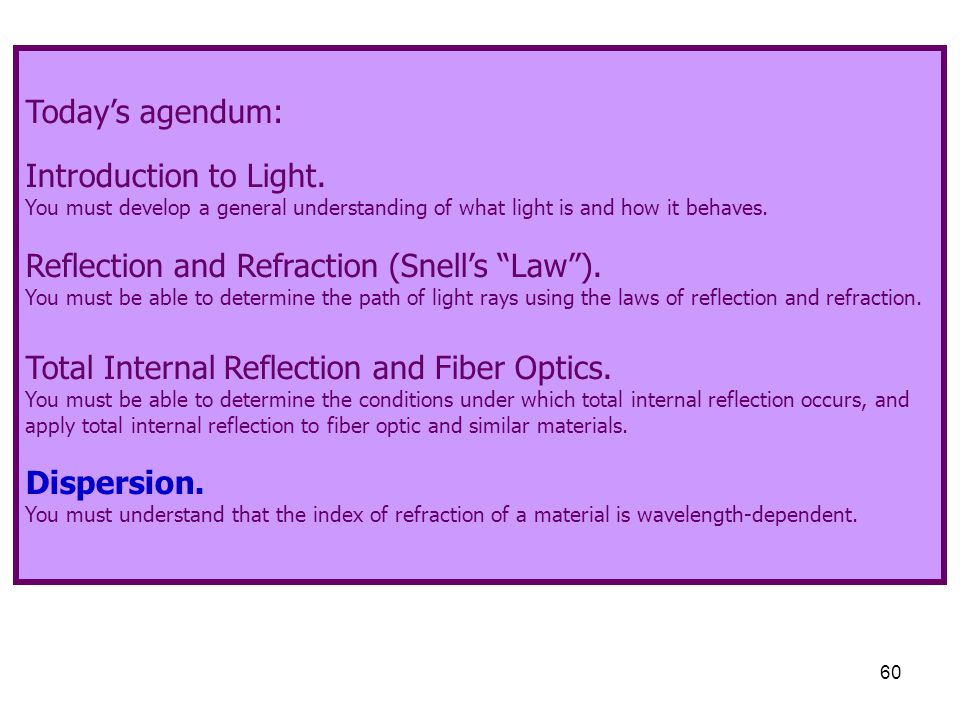 60 Today's agendum: Introduction to Light. You must develop a general understanding of what light is and how it behaves. Reflection and Refraction (Sn