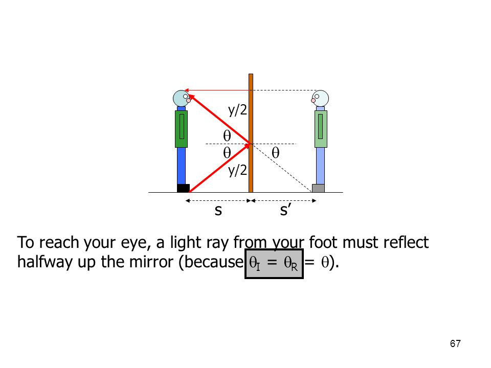 67 ss' y/2    To reach your eye, a light ray from your foot must reflect halfway up the mirror (because  I =  R =  ).