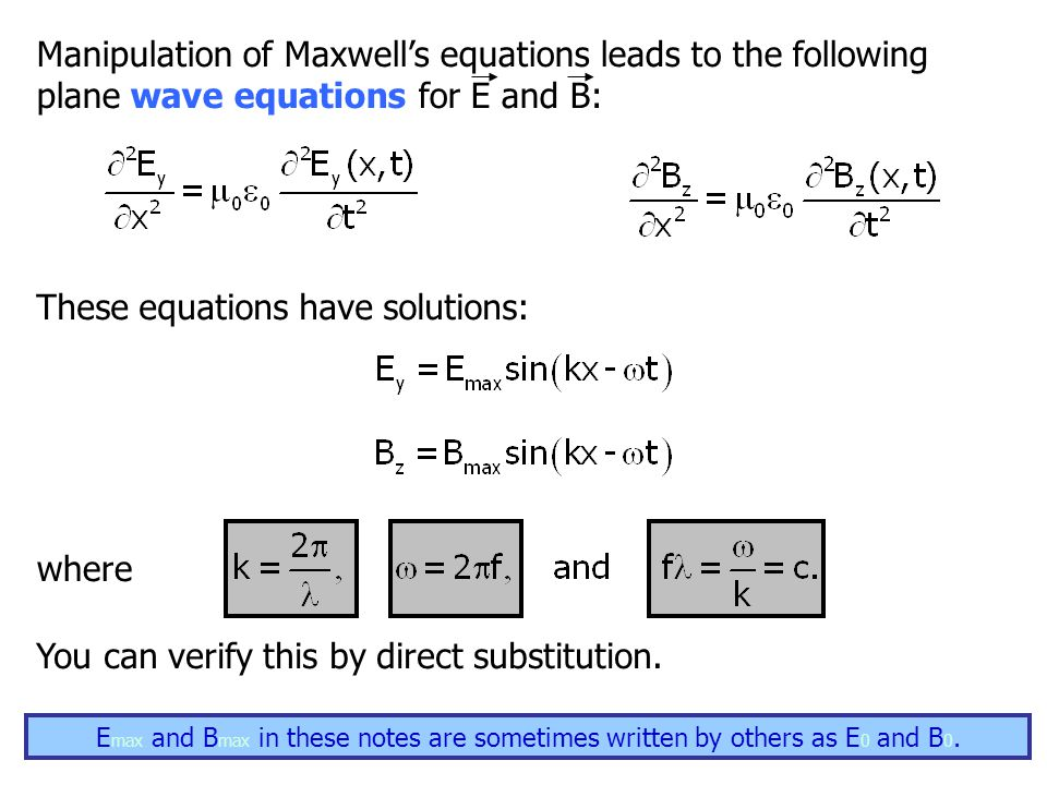 8 Manipulation of Maxwell's equations leads to the following plane wave equations for E and B: These equations have solutions: You can verify this by