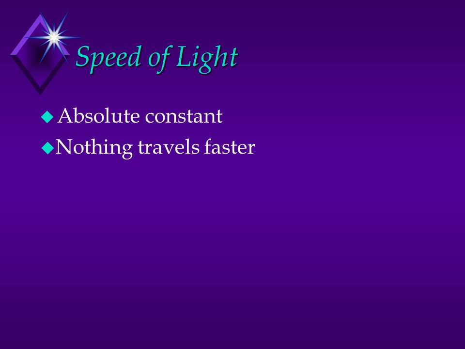 Speed of Light  Absolute constant  Nothing travels faster