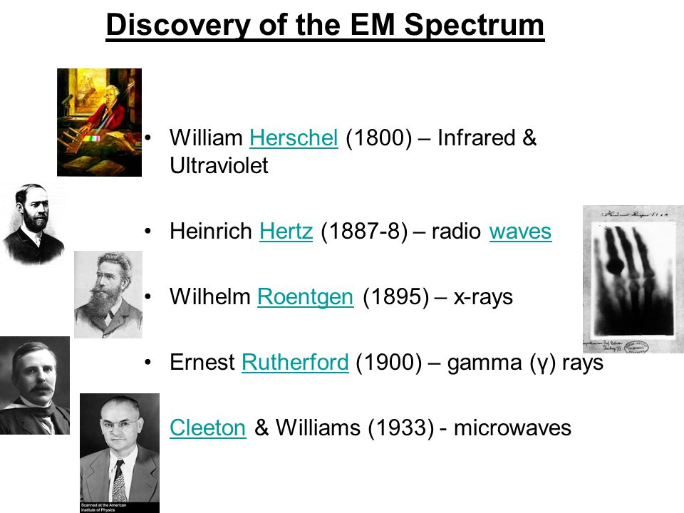 Discovery of the EM Spectrum William Herschel (1800) – Infrared & UltravioletHerschel Heinrich Hertz (1887-8) – radio wavesHertzwaves Wilhelm Roentgen (1895) – x-raysRoentgen Ernest Rutherford (1900) – gamma (γ) raysRutherford Cleeton & Williams (1933) - microwavesCleeton