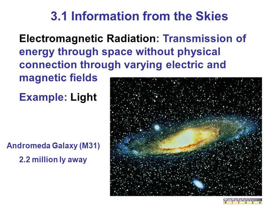 3.1 Information from the Skies Electromagnetic Radiation: Transmission of energy through space without physical connection through varying electric and magnetic fields Example: Light Andromeda Galaxy (M31) 2.2 million ly away