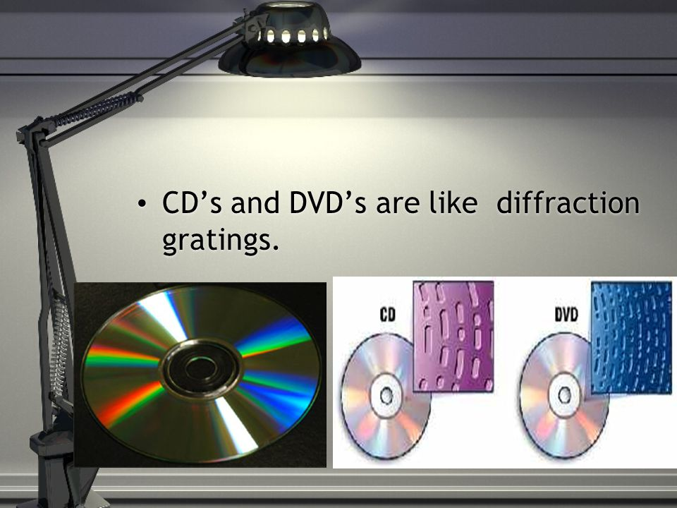 CD's and DVD's are like diffraction gratings.