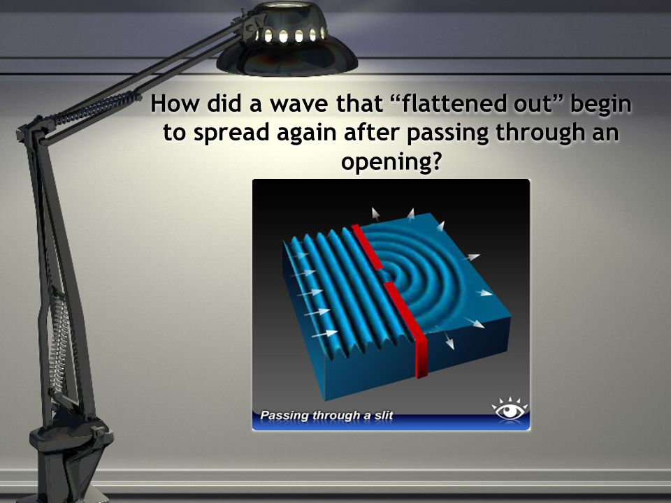 How did a wave that flattened out begin to spread again after passing through an opening?