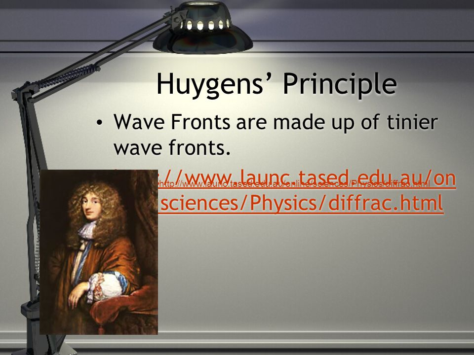 Huygens' Principle Wave Fronts are made up of tinier wave fronts.