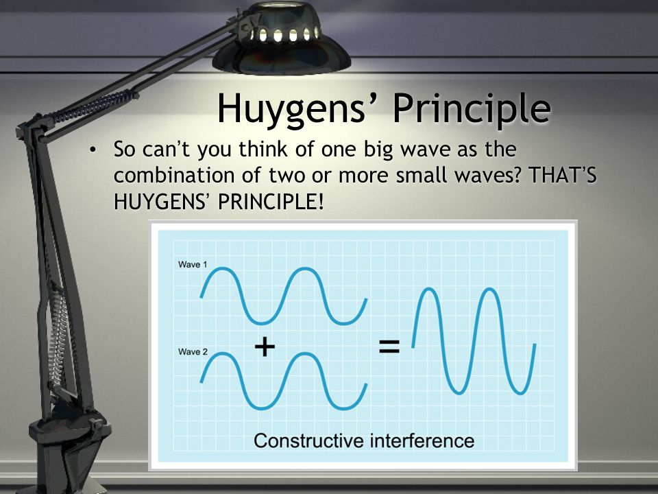 Huygens' Principle So can't you think of one big wave as the combination of two or more small waves.