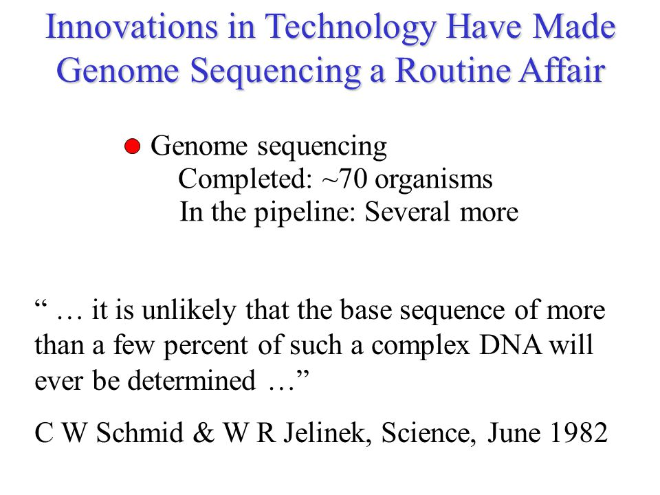 "Innovations in Technology Have Made Genome Sequencing a Routine Affair Genome sequencing Completed: ~70 organisms In the pipeline: Several more "" … it"