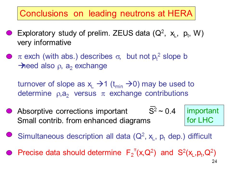 24 Conclusions on leading neutrons at HERA Exploratory study of prelim.