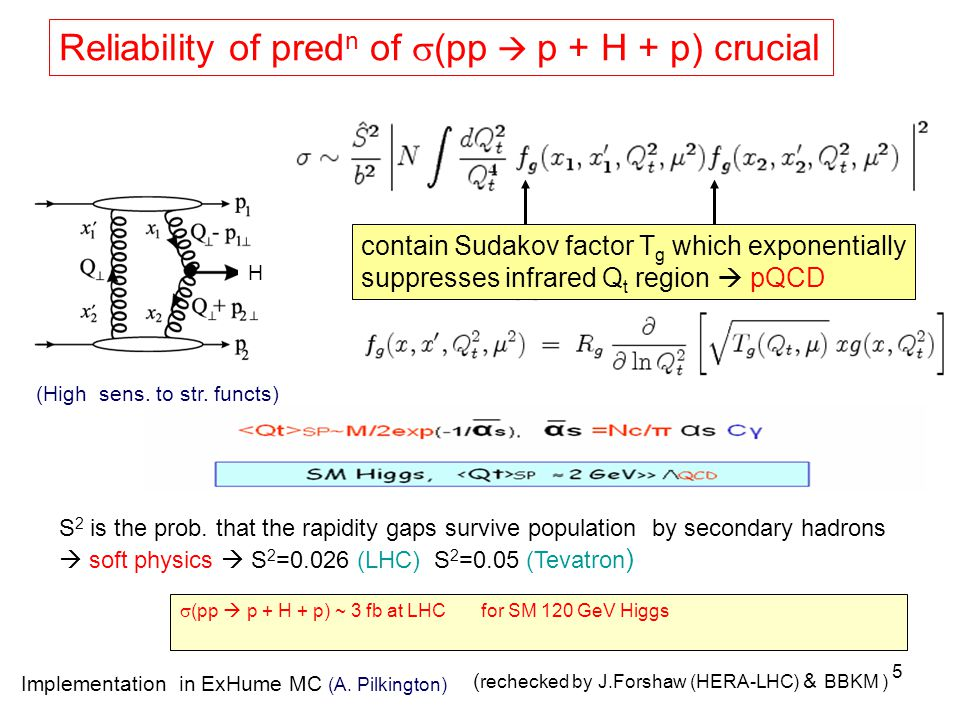 5 Reliability of pred n of  (pp  p + H + p) crucial contain Sudakov factor T g which exponentially suppresses infrared Q t region  pQCD S 2 is the prob.