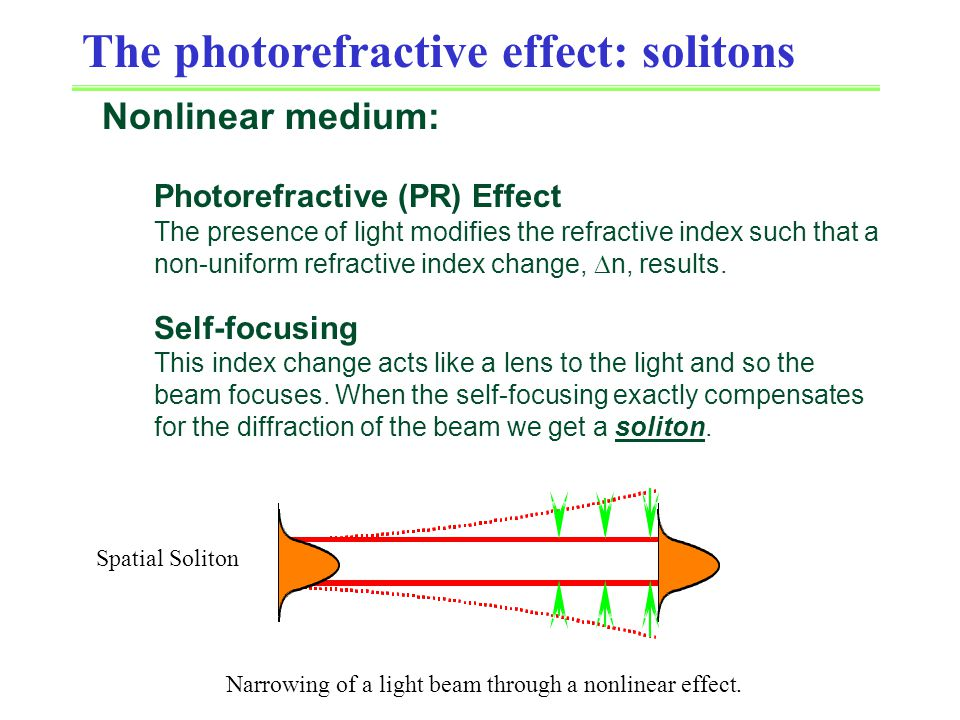 The photorefractive effect: solitons Nonlinear medium: Photorefractive (PR) Effect The presence of light modifies the refractive index such that a non-uniform refractive index change,  n, results.