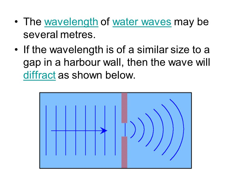The wavelength of water waves may be several metres.wavelengthwater waves If the wavelength is of a similar size to a gap in a harbour wall, then the wave will diffract as shown below.