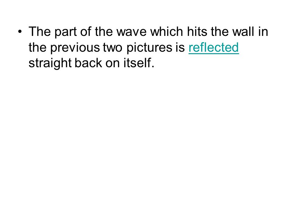 The part of the wave which hits the wall in the previous two pictures is reflected straight back on itself.reflected