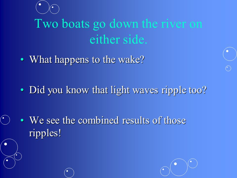 Two boats go down the river on either side. What happens to the wake?What happens to the wake? Did you know that light waves ripple too?Did you know t
