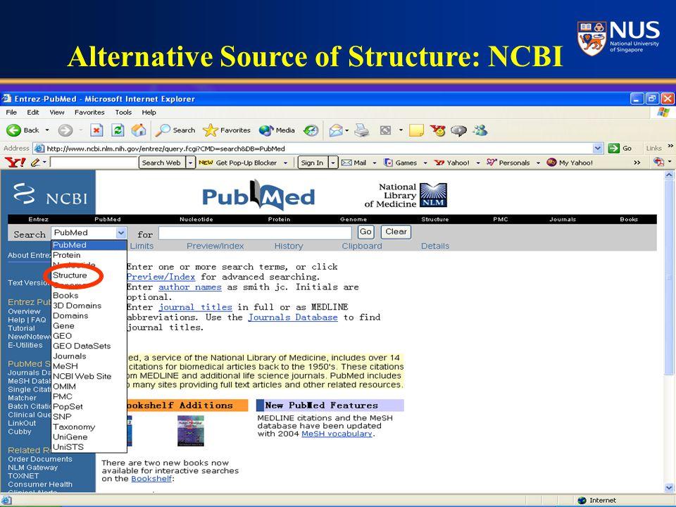 Alternative Source of Structure: NCBI