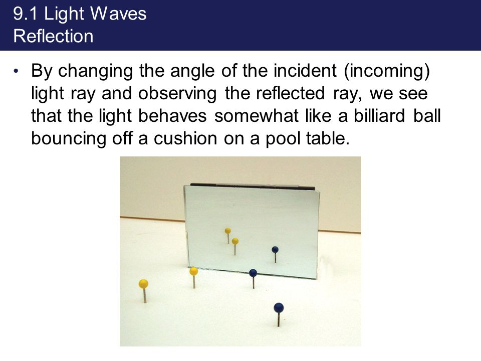 9.1 Light Waves Reflection By changing the angle of the incident (incoming) light ray and observing the reflected ray, we see that the light behaves s