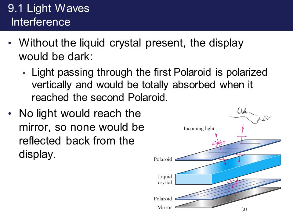 9.1 Light Waves Interference Without the liquid crystal present, the display would be dark: Light passing through the first Polaroid is polarized vert