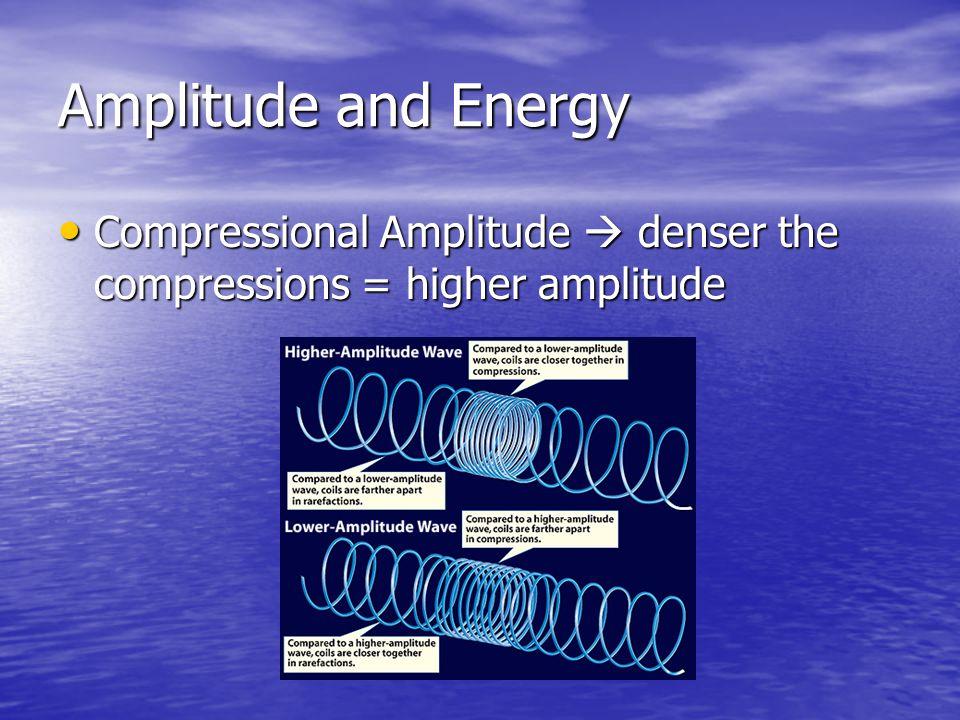 Amplitude and Energy Compressional Amplitude  denser the compressions = higher amplitude Compressional Amplitude  denser the compressions = higher a