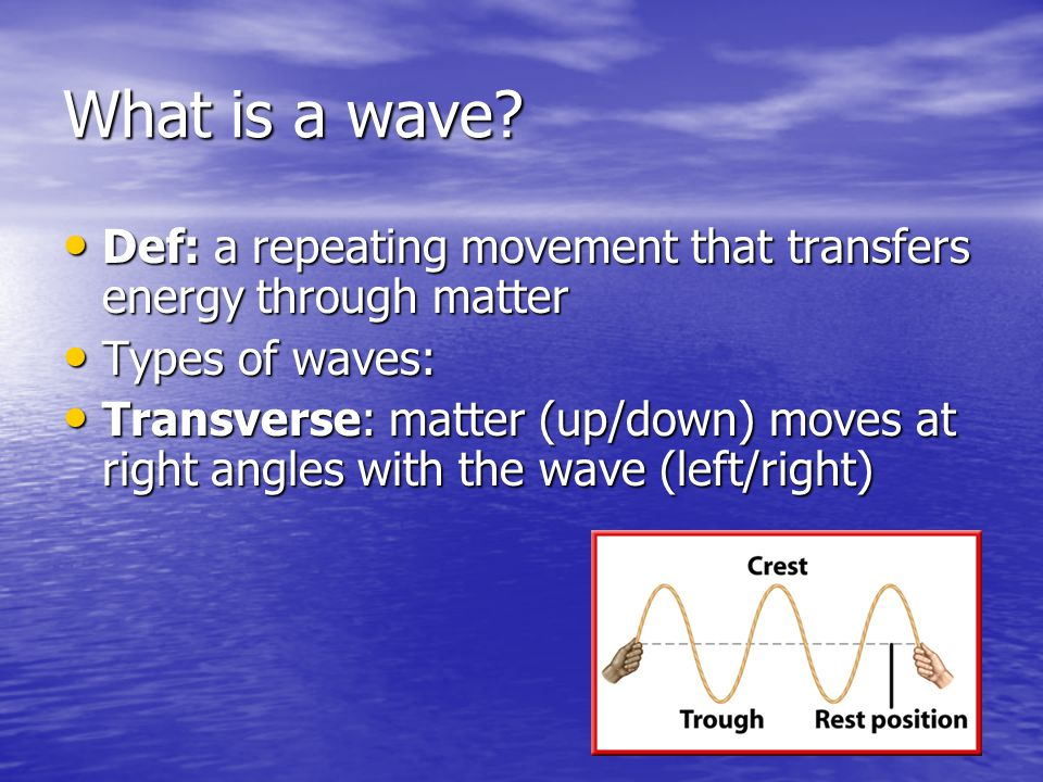 What is a wave? Def: a repeating movement that transfers energy through matter Def: a repeating movement that transfers energy through matter Types of