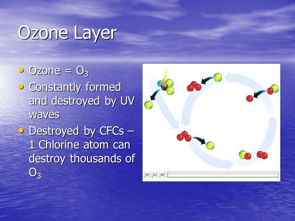 Ozone Layer Ozone = O 3 Ozone = O 3 Constantly formed and destroyed by UV waves Constantly formed and destroyed by UV waves Destroyed by CFCs – 1 Chlo