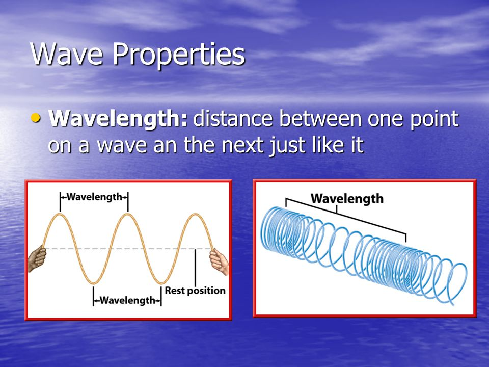 Wave Properties Wavelength: distance between one point on a wave an the next just like it Wavelength: distance between one point on a wave an the next