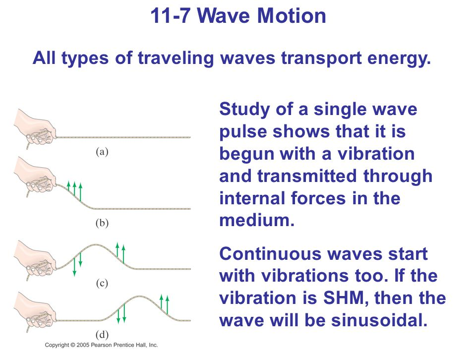11-7 Wave Motion Wave characteristics: Amplitude, A Wavelength, λ Frequency f and period T Wave velocity (11-12)