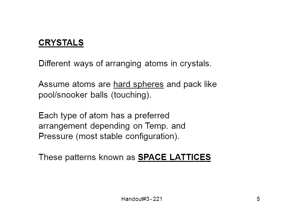 Handout#3 - 2215 CRYSTALS Different ways of arranging atoms in crystals.