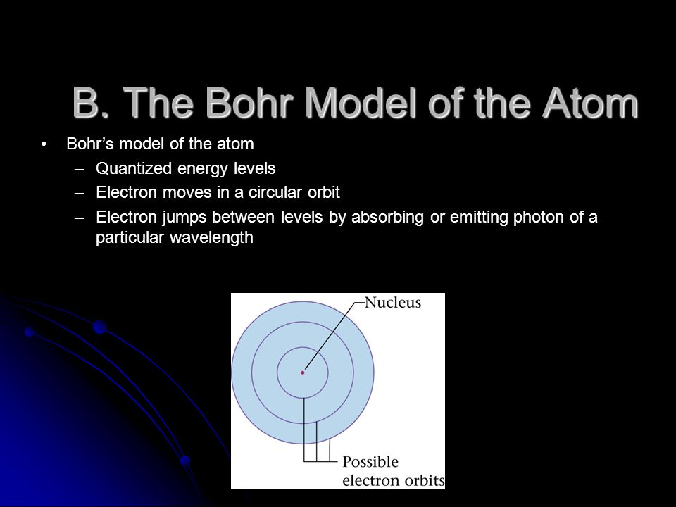 B. The Bohr Model of the Atom Bohr's model of the atom –Quantized energy levels –Electron moves in a circular orbit –Electron jumps between levels by