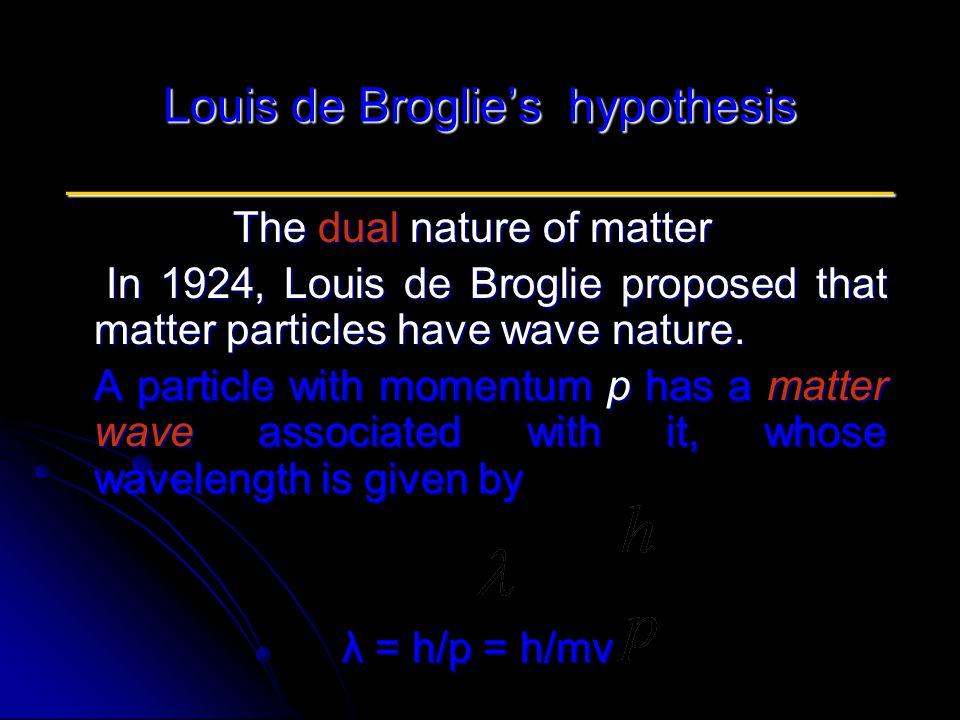 Louis de Broglie's hypothesis ____________________________ The dual nature of matter In 1924, Louis de Broglie proposed that matter particles have wave nature.