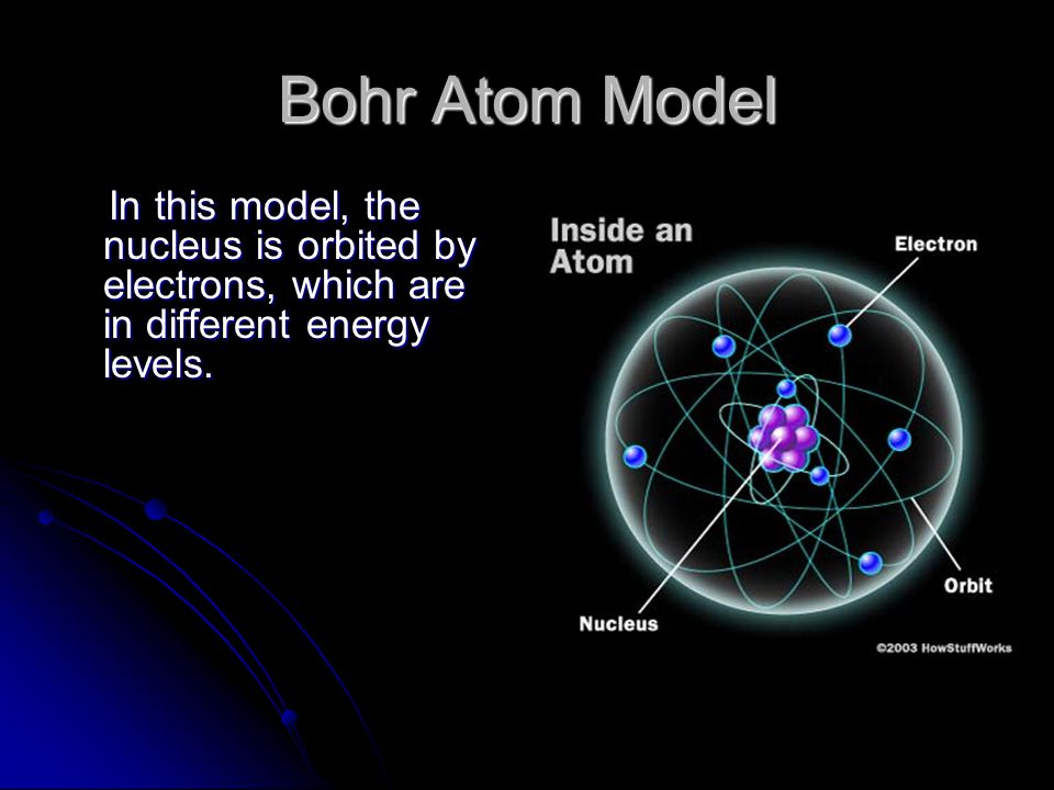 Bohr Atom Model In this model, the nucleus is orbited by electrons, which are in different energy levels.