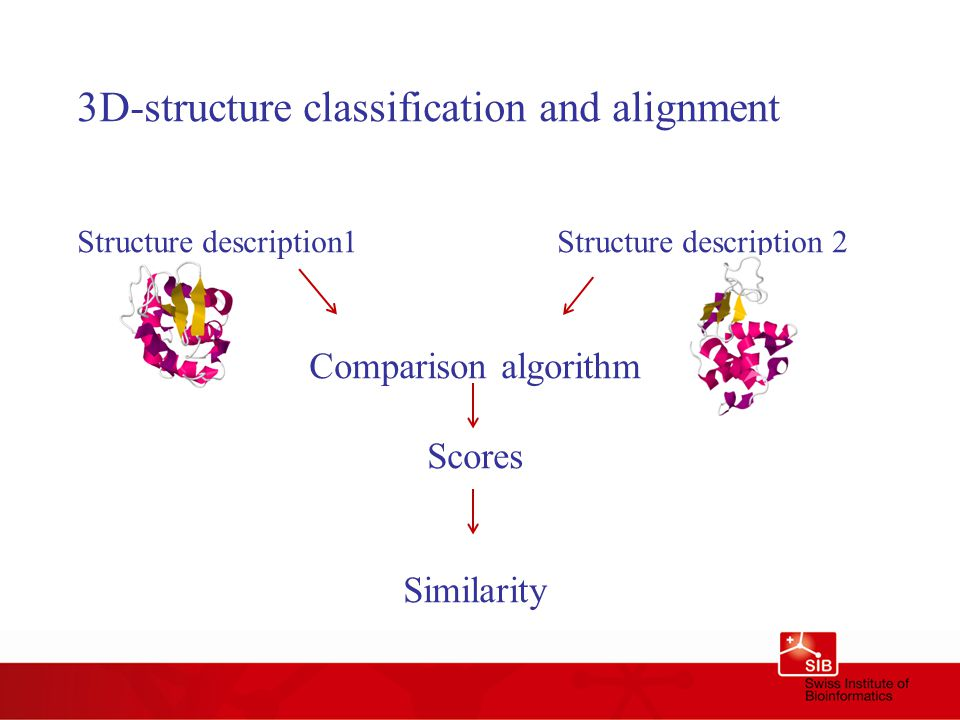 3D-structure classification and alignment Structure description1Structure description 2 Comparison algorithm Scores Similarity