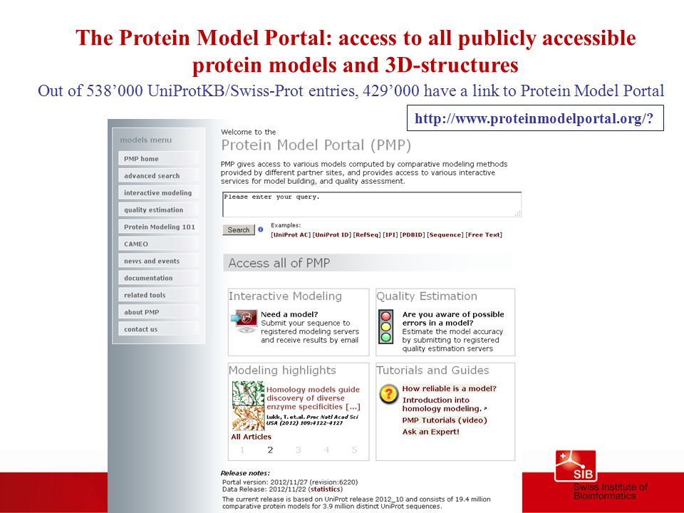 The Protein Model Portal: access to all publicly accessible protein models and 3D-structures Out of 538'000 UniProtKB/Swiss-Prot entries, 429'000 have a link to Protein Model Portal http://www.proteinmodelportal.org/?